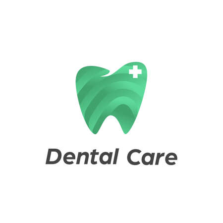 Dental care dentist logo with tooth teeth icon in modern cutout layered paper cut style vector