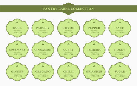 Pantry kitchen seasoning label sticker kit set collection in elegant green frame classic style