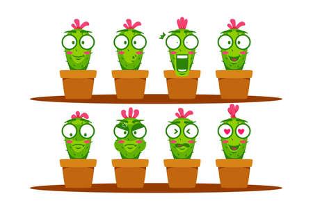 Green Cactus cartoon mascot character smiley emoji expression set collection