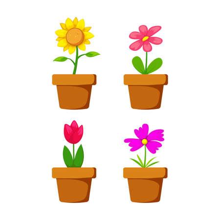 Stellen Sie Hausblume in Topfvektorobjektelementdekorationsillustrationssammlung mit Sonnenblume, Tulpe, Jasmin und violetter Blume ein