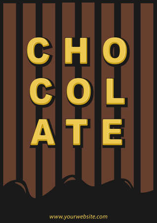 Template Chocolate poster promotion with gold typography text effect