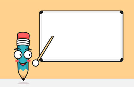 Pencil Character point the whiteboard with stick teaching presenting presentation illustration with text space template