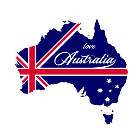 Australia map country with blue australia flag inside vector illustration good for merchandise or t-shirt printing