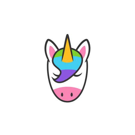 Unicorn head illustration icon symbol vector Illustration
