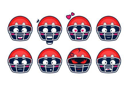 America football rugby helmet emoji emotion cartoon vector set