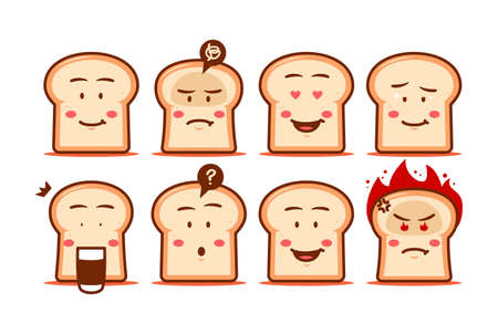 Bread cartoon emoji face smiley expression set vector character cute funny style 向量圖像