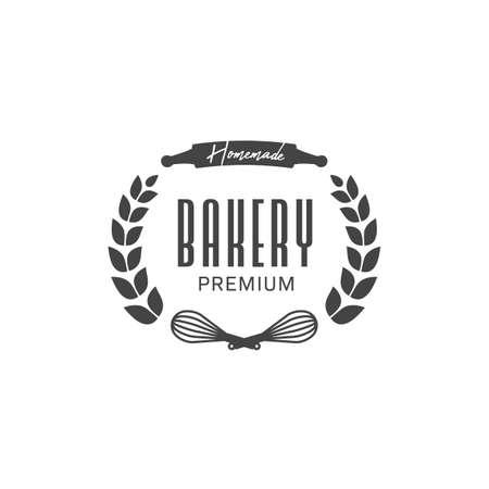 Homemade premium bakery badge symbol with wheat wreath element