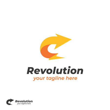 Revolution arrow yellow lightning bolt with curved right arrow  icon simple symbol 스톡 콘텐츠 - 151917937