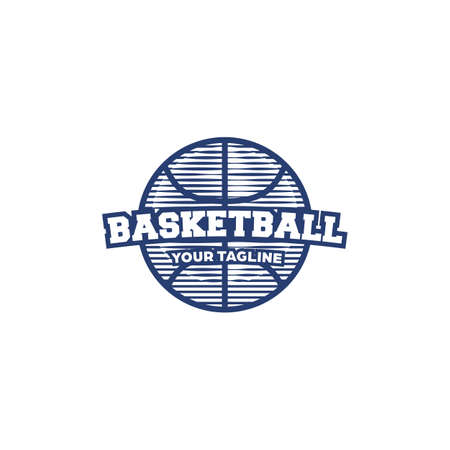 Basketball simple ball  icon clip art symbol in vintage retro hatching engraved style