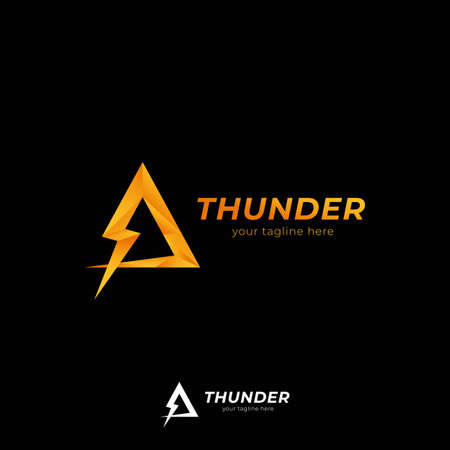 Triangle thunder bolt logo icon symbol for technology power or entertainment company  イラスト・ベクター素材