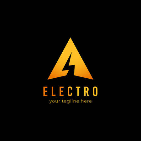 Electric voltage thunder logo inside letter A triangle shape icon symbol logo for technology, media, or entertainment