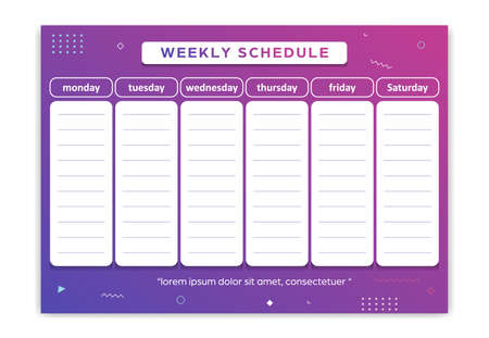 Weekly planner schedule monday to saturday geometric gradient colorful abstract style