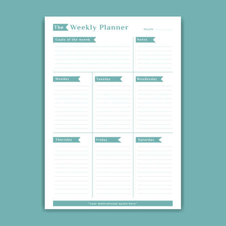 Green weekly planner schedule template monday to saturday with notes and week goals list simple table style