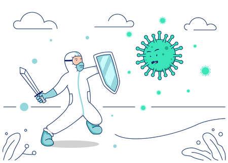 Vector illustration corona virus fight, doctor hazmat suit with warrior sword and shield fight covid coronavirus illustration