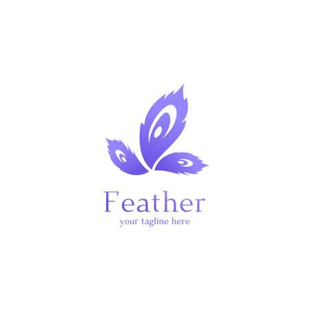Peacock feather logo icon symbol art in purple violet color graphic