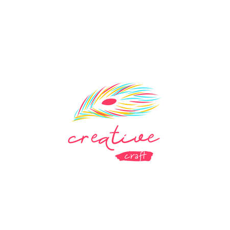 Creative craft logo with peacock feather icon symbol graphic vector for DIY art do it your self brand in artistic style market