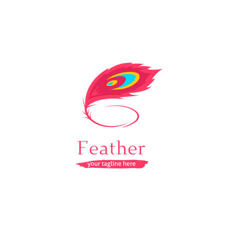 Artistic peacock feather logo icon symbol in soft pink feminine color brand Illustration