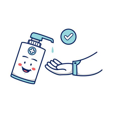 washing hand using hand soap sanitizer vector illustration cartoon