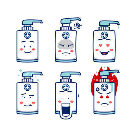 hand soap sanitizer mascot character with expression smile, angry, upset, love, astonished, mad, and frowned in cartoon vector illustration