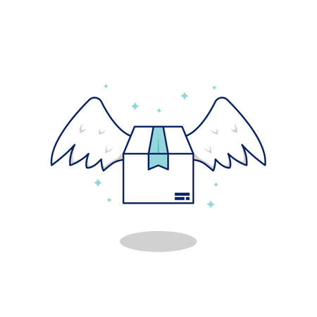 flying fast parcel package delivery with wing coming from sky, delivery package vector illustration