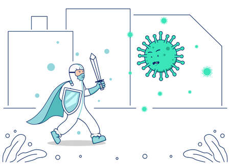 Vector illustration covid corona virus fight, doctor hazmat suit with warrior sword and shield fight coronavirus illustration concept