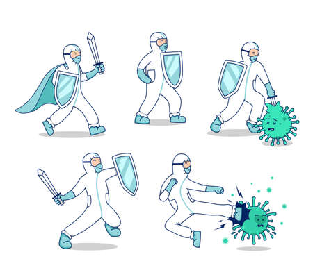 vector character set fight covid corona virus illustration, doctor with hazmat suit sword and shield fight against virus bacteria mascot character pose set concept Illustration