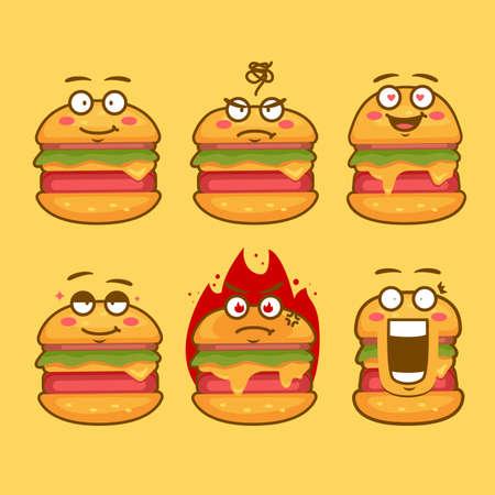 burger character mascot emoticon face expression concept illustration set