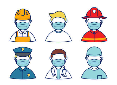 People wear mask protection from corona virus avatar character profession set, police, doctor, firefighter, surgery