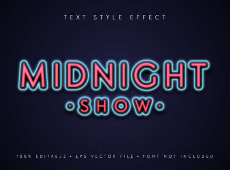 editable text style effect Midnight show in neon retro style