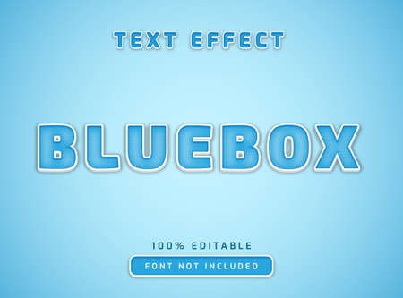 editable text style effect blue box with square line pattern