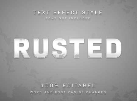 Editable Text effect rusty peeled silver metal texture type style