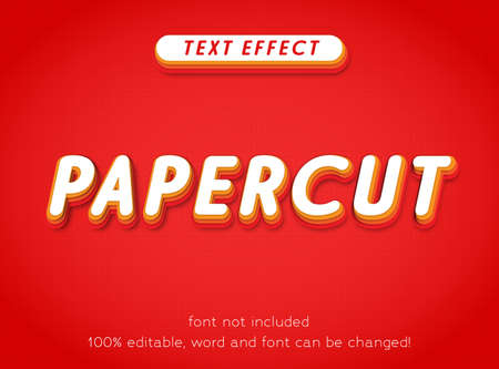 Editable text effect papercut colorful fun style vector template letter type