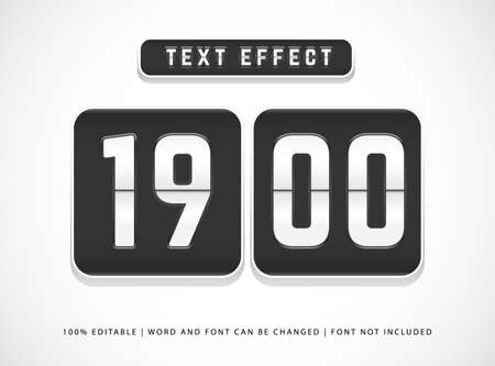 editable text effect flip clock countdown time text effect style vector template