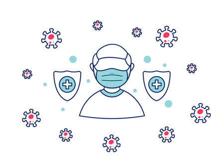 Man wear face mask as protection from covid 19 corona virus pandemic safety prevention protection fight against virus vector illustration