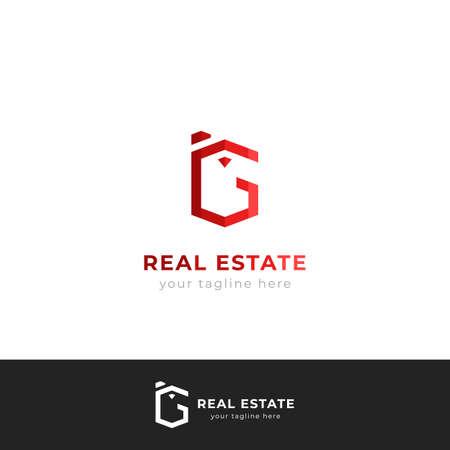 Letter G logo logotype in building shape for real estate branding, architecture, contractor logo Illustration