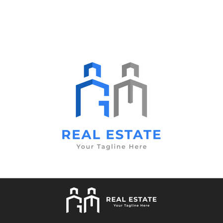 Real Estate Building company logo branding with G M letter logotype icon Illustration