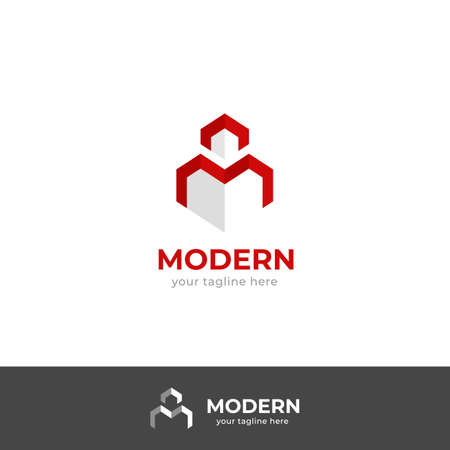 Modern letter M geometric abstract logo line style icon in cubic building shape silhouette, modern simple minimalistic M logo symbol Illustration