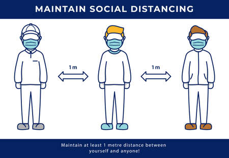 Social distancing keep distance concept vector illustration for fight covid coronavirus pandemic