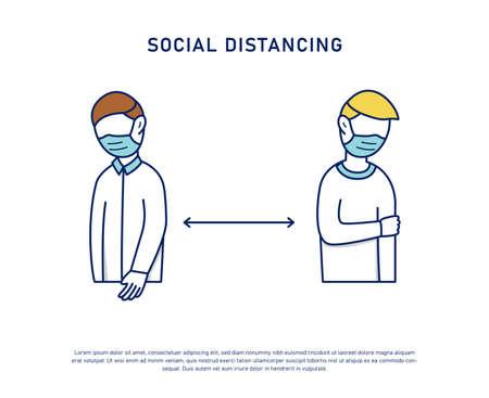 Social distancing prevention keep distance fight coronavirus pandemic virus covid-19 vector illustration concept Illustration