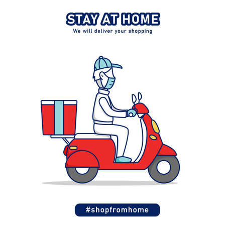 Shop from home shopping delivery man riding scooter  bike delivering grocery package concept cartoon illustration
