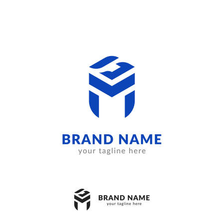 Abstract logotype letter G M logo icon symbol