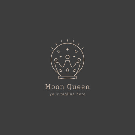Moon and crown, moon queen logo icon symbol in line art style