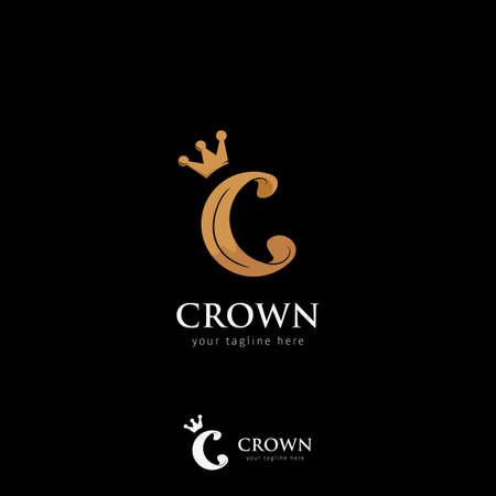 C crown logo gold color icon symbol logotype