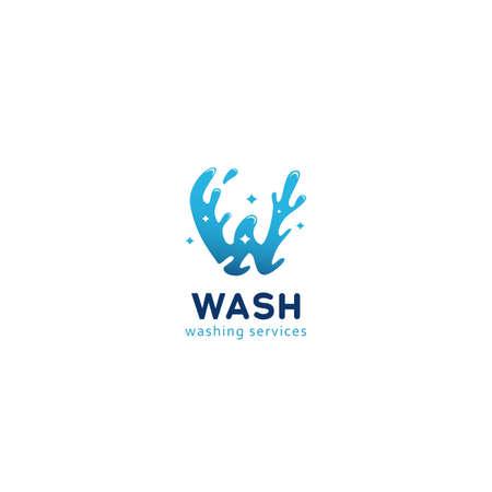 Letter W wash splash washing cleaning service logo icon symbol