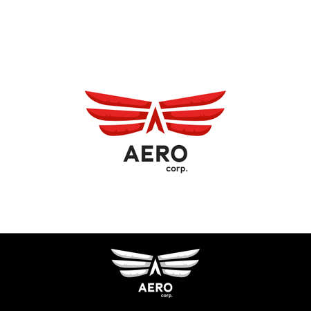 Aerodynamics fly Wing logo concept with arrow letter A creative aircraft aviation icon symbol