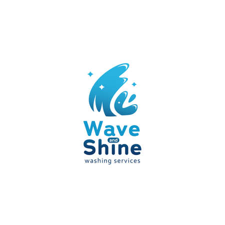 Blue shining wave and shine logo icon for cleaning washing service industry business symbol Illustration