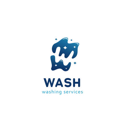 Letter W in water shine water pond logo icon for cleaning washing service company