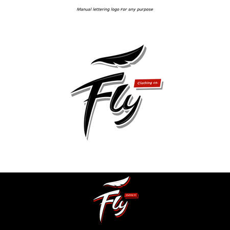 Fly logo lettering logo type with wing feather in hype swag cool clothing brand icon symbol style Illustration