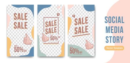 Editable social media story vector design template in abstract flat pastel liquid trendy soft for sale discount promotion