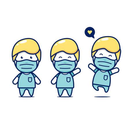 Cute chibi medical surgery surgeon doctor staff character set